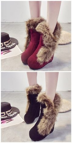 Shoespie Round Toe Side Furry Wedge Heel Ankle Boots