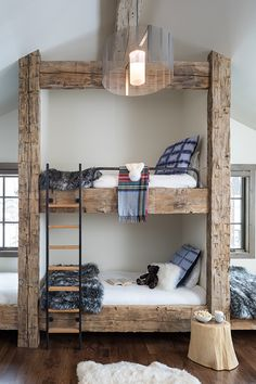 ids can get hygee too, especially in this super cozy bunk room. They may never want to leave (there is also shuffleboard in this Four Bunk Bed Rooms, Bunk Beds Built In, Tiny House, Home Interior, Interior Design, Interior Decorating, Home Bedroom, Girls Bedroom, My Dream Home