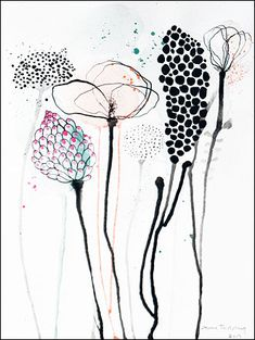 Anne Tholstrup - Tegning (2013) Abstract Watercolor, Watercolor And Ink, Watercolor Paintings, Zentangle Drawings, Art Drawings, Art And Illustration, Collage Kunst, Flowers Wallpaper, Poster Photo