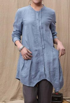 Linen Irregular single breasted long shirt by MaLieb on Etsy, $89.00