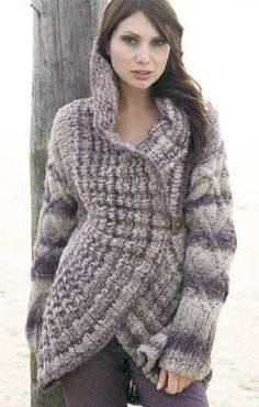 This page provides photos of all designs worked with Lana Grossa yarns and created in collaboration with various designers. You'll find lots of inspiration for trendy knitting, crocheting and felting projects. Baby Knitting Patterns, Coat Patterns, Knit Or Crochet, Cute Crochet, Knit Cardigan Pattern, Knitted Coat, Loop Scarf, Long Sleeve Tunic, Crochet Clothes