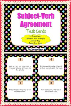 Subject verb agreement task cards for first and second graders :)  Good for ELL and ESOL class too.
