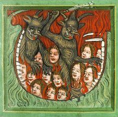 "Bohemian 'Krumlovský sborník' (Speculum humanae salvationis) ""Hell"" depiction ca. 1420 (Prague Knihovna Národního muzea, III B 10, fol. 47r)"