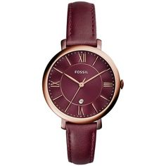 Fossil Watch - Ladies Jacqueline Leather Watch Bordeaux - in red -... (€145) ❤ liked on Polyvore featuring jewelry, watches, red, red jewelry, red watches, leather jewelry, fossil watches and sporty watches
