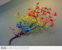 Rainbow origami. Would like to do this with just two colors