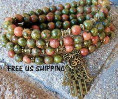 Rebirth 108 Unakite, Hamsa & Om Mala Bracelet or Necklace Reiki charged, Buddhist Rosary, Prayer beads, Gemstone mala, Free shipping