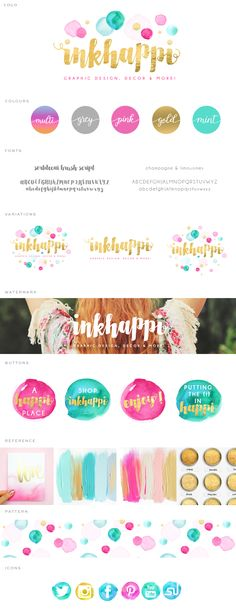 watercolor confetti, confetti logo, logo design, gold, teal, pink, aqua, grey, yellow