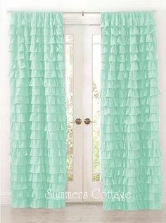 http://www.summersatthecottage.com: SHABBY BEACH COTTAGE CHIC AQUA DREAMY RUFFLED CURTAIN DRAPE PANEL