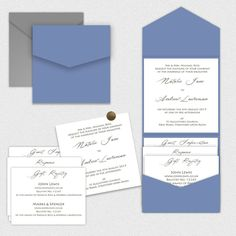 Sample Print-Your-Own Cornflower Blue Pocketfold Pocket Wedding Invitations