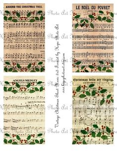 Vintage Christmas Sheet Music 3x5 Digital Collage by HopePhotoArt, $3.98