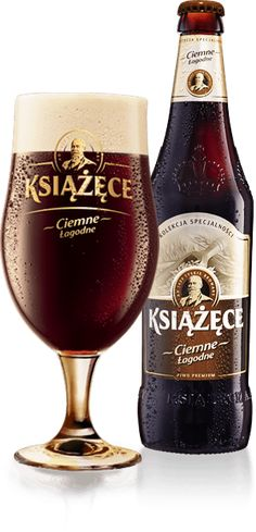 Cerveja Książęce Ciemne Łagodne, estilo Munich Dunkel, produzida por Kompania Piwowarska, Polônia. 4.1% ABV de álcool.