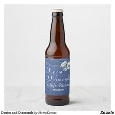Shop Denim and Diamonds Beer Bottle Label created by MetroEvents.