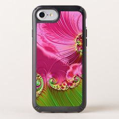 Modern Hot Pink Lime Green Fractals Pattern Speck iPhone Case - floral style flower flowers stylish diy personalize