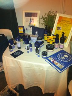 Neal's Yard Remedies table display Neals Yard Remedies, Home Remedies, Girls Pamper Party, Felicity Brown, Yard Dice, Organic Skin Care, Neal's Yard, Office Decor, Herbs