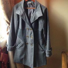 Love Stitch Charcoal Grey Pea Coat, Size Large