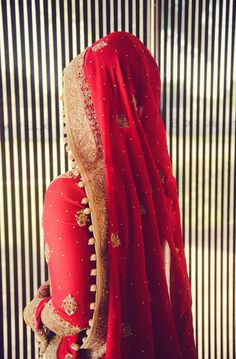 combo: red fabric and gold kaam