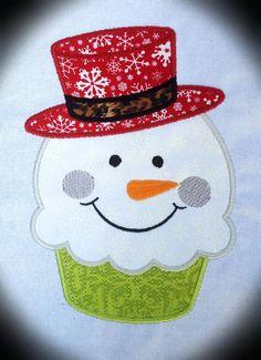 Christmas Snowman Cupcake Machine Applique Embroidery Design - 4x4, 5x7 & 6x8