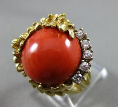 ANTIQUE-LARGE-20CT-DIAMOND-AAA-CORAL-14KT-2-tone-GOLD-round-flower-RING-21861