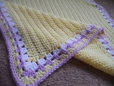 crochet edging for baby blankets | Crochet Baby Blanket with Granny Edging Purple Yellow. $22.00, via ...