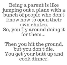 Being a parent is like jumping out a plane with a bunch of people who don't know how to open their own chutes. You get your butt up and cook dinner. My Life Quotes, Me Quotes, Funny Quotes, The Parent Hood, Motherhood Funny, Parents Be Like, Families Are Forever, Dear Future Husband, Parenting Memes