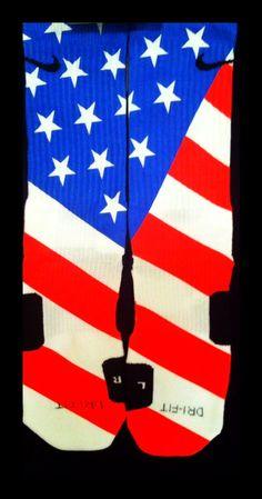 USA Flag Custom Nike Elites by TheSickestSocks on Etsy, $35.99