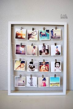 If you find cheap picture frames at thrift stores or flea markets, you can easily turn them into amazing photo displays. These DIY home decor ideas will help you turn old frames into beautiful wall ar(Diy Photo Art) Polaroid Foto, Photowall Ideas, Exposition Photo, Old Picture Frames, Photo Frame Ideas, Homemade Picture Frames, Polaroid Picture Frame, Ideas For Frames, Dyi Photo Frames