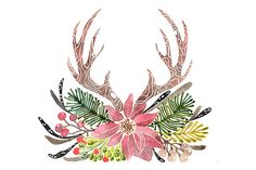 Check out Rustic Antlers Christmas Hand painted Watercolor Clipart by pdeasyprint on Creative Market