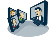 Illustration of computer screens monitor with man woman faces and presentor presenting webinar or video conferencing done in retro style. The zipped file includes editable vector EPS, hi-res