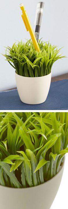 Green grass desk organizer - a fun pen and stationary holder! #product_design