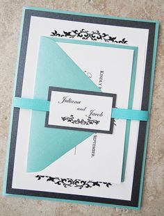 Stacked wedding invitations