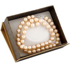 Pearl 164327: Boxed 8-8½Mm Natural Pink Freshwater Pearl Necklace, 18, And Matching Studs Set-A BUY IT NOW ONLY: $34.99
