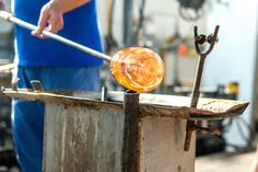 Learn to make an ornament, candle votive or a drinking glass at this beginners glassblowing class! #BeautifulGlass