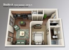 Studio Apartment 3d Floor Plans   Google Search