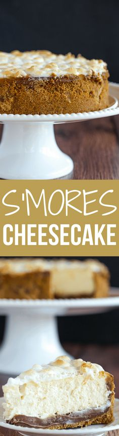 S'mores Cheesecake - The ultimate summer dessert! Graham cracker crust, chocolate fudge, and marshmallow cheesecake, all topped with toasted marshmallows.