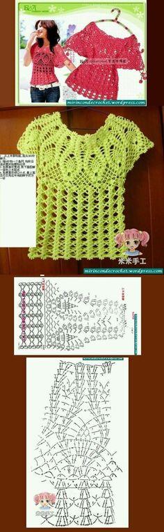 BLUSAS PARA TEJER A CROCHET CON PATRONES GRÁFICOS GRATIS | Patrones Crochet, Manualidades y Reciclado