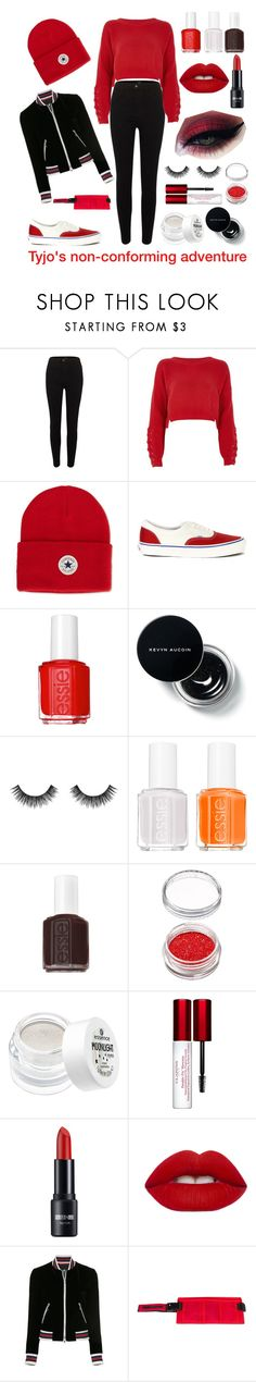 """""""Tyler Joseph destroying the concept of gendered clothing"""" by meowntown ❤ liked on Polyvore featuring River Island, Converse, Vans, Essie, Velour Lashes, Clarins, Lime Crime, Loveless and Martine Rose"""