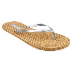 Women's Jams World Flip Flop Sandals - Silver 10