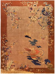 A Chinese Deco Rug BB5193 - by Doris Leslie Blau.  This art Deco rug from China has an open striated brown field with naturalistic floral motifs sparsely placed in the composition within a open border...