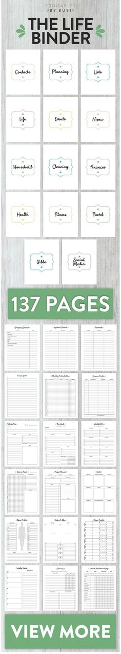 Get Organized with The Printable Life Planner! This Bundle contains a set of Printable pages carefully designed to make your life easier. The Kit includes sections about your Personal Life, Family, Household, Goals, Finances, Chores, Cleaning, To do list, Events planning, Fitness, Medical, Health information and more to keep track of all in one binder! #ad #planner #thelifebinder #printables