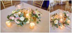 Centerpieces at Alhambra Hall wedding reception. Charleston Wedding Photographers » Wedding & Portraiture Photography in Charleston, SC