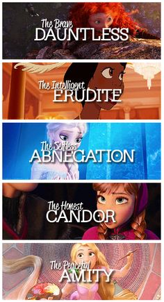 Princesses and their factions from Divergent.