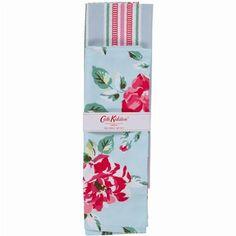 - イギリス雑貨と紅茶とハーブティーのお店 English Specialities Box Floral / Aqua Stripe Tea Towel