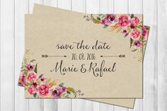 WILD LOVE KRAFT 50x Save the date Karten Boho von Wild Child Wedding auf DaWanda.com