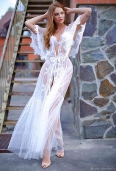 8e662bfedf Long Tulle Bridal Robe with Lace Lace-trimmed Tulle Bridal Robe