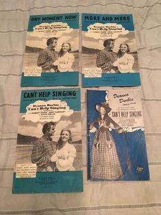 "Lot of 4 Vintage 1940s ""CAN'T HELP SINGING"" Sheet Music, Brochure Deanna Durbin"