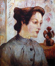 Paul Gauguin - Post Impressionism - La femme au chignon - Woman's Portrait…