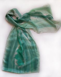 Hand painted silk scarf Mint Flowers Abstract flowers by klaradar, €45.00
