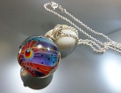 Rainbow marble glass bead pendant - one-of-a-kind glass art