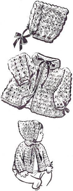 Design 578 baby matinee coat setl vintage crochet pattern PDF instant download