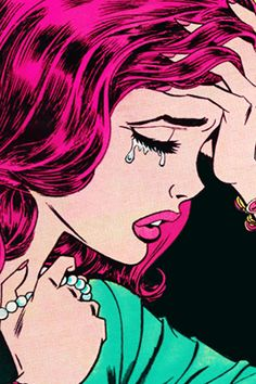 Within Pop Art images, there is a common style in illustrative work which stereotypically a comic book style. Also, the use of dark elements is often seen through the theme, evidenced here through the bold illustration of the tears.